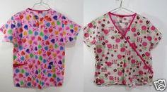 2-Dickies-Scrubs-Sz-Small-Pink-Ribbon-Flowers-Medical-Nursing-Vneck