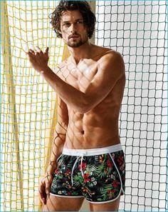 Wouter Peelen poses in Calzedonia tropical print swim shorts.