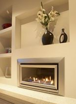 contemporary built-in fireplace, lovely