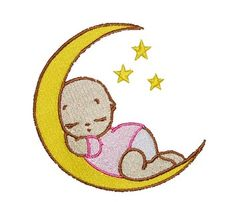 Baby sleeping on the moon embroidery design - Babies and Children - Cute babies and kids - Baby sleeping on the moon embroidery design - Quality Machine embroidery designs patterns downloads library,
