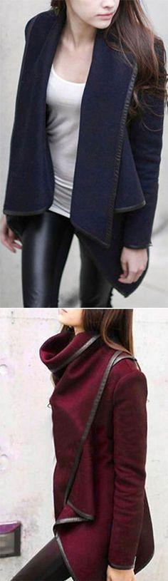 Handsome Irregular Cut Coat features irregular cut and 3 colors.