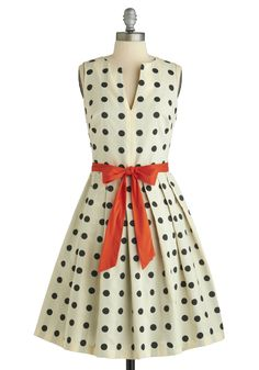 polka-dot sash dress