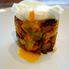 """Getaway soy-braised beef """"short"""" ribs Hutten Farm sweet potato hash tower with Coldspring Farm poached egg"""