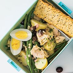 Herby Potato, Green Bean, and Tuna Salad | MyRecipes.com.  Add hard boiled egg, crackers, fruit, and cookie
