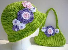 Girls  Cotton Crochet Hat And Matching Purse by mycrochetgarden, $32.00