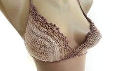 crochet bikini top ,swimsuit bikini top ,summer women clothing ,swimwear lace bra ,sun bikini , brown beige COTTON  yarn on Etsy, $19.90
