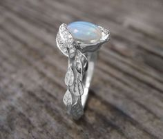 Natural Opal Engagement Ring, Leaves Ring, Boho Opal Ring, Engagement Ring With Opal, Natural Floral Leaves Ring Oval October Birthstone Elegant Engagement Rings, Leaf Engagement Ring, Opal Rings, Silver Rings, Natural Opal, Natural Diamonds, Jewelry Rings, Gold Jewelry, Crystal Jewelry