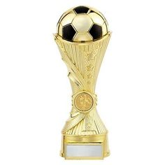 Personalised Black and Gold Football Boot Column Trophy Free Engraving