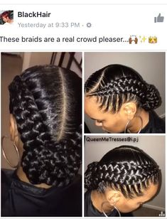 18 Goddess braids Pins you might like - - Gmail - Hairstyles and Hair Ideas - - September 01 2019 at Two Braid Hairstyles, African Braids Hairstyles, Summer Hairstyles, Female Hairstyles, Protective Hairstyles, Protective Styles, Wedding Hairstyles, Updo Hairstyle, Easy Black Girl Hairstyles