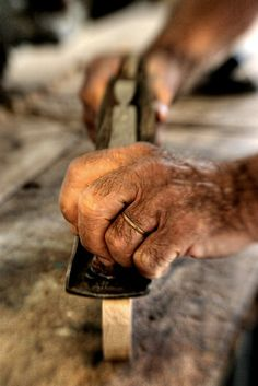 """""""His hands are miracles. I can watch them for hours, transforming wood into something it never dreamed of being."""" ― Katja Millay, The Sea of Tranquility. Old tools by AJ Schroetlin Working Hands, Hand Photography, Old Hands, Old Tools, Man Up, Maker, Beautiful Hands, Woodworking, Pinocchio"""