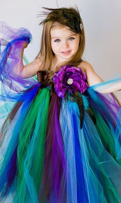 Peacock Tutu Dress - Perfect for Flower Girls, Birthdays, and more!(hmm, with a cute blue dress and the tutu, this would be a cute peacock costume for grow ups) Flower Girls, Peacock Flower Girl Dress, Peacock Tutu, Flower Girl Tutu, Flower Girl Dresses, Peacock Costume, Peacock Colors, Peacock Theme, Peacock Halloween