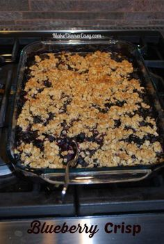 A super easy dessert you can make with pantry ingredients and a bag of frozen blueberries ~ Blueberry Crisp Recipe from makedinnereasy.com
