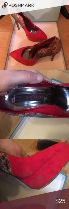 """Red faux suede heels Gently worn Red faux suede 6"""" heels. Good condition worn twice. See 3rd pic for slight damage. Could be removed. Has a platform. These are surprisingly comfortable!  Faux red suede with a red, black, beige & gold peacock print. 2 Lips Too Shoes Heels"""