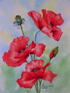 Poppies - Watercolour Painting by Nicki Saunders Kids Watercolor, Watercolor Mixing, Watercolour Painting, Watercolors, Art Inspiration Drawing, Watercolour Tutorials, Funny Art, Fabric Painting, Art Tutorials