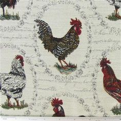 Love this french rooster fabric for the new valance in my kitchen -- coordinates well with the charcoal couch and french pillows in the family room!