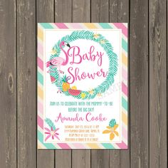 Flamingo Baby Shower Invitation Tropical Floral by PartyPopInvites