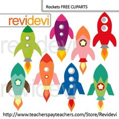 Free Clip Art. Rocket clipart collection for Teacher-Author. You will get 8 digital images. Graphic resource for teachers pay teachers.Red, blue, green, purple rockets, and more in other colors too! Fun pack, specially for pre-K and kindergarten classroom activities.PLEASE RATE!