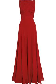 Saint Laurent Hand-Pleated Silk-Georgette Gown in Red
