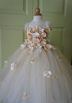Flower girl dress Champagne Dress Champagne tutu by FashionTouch