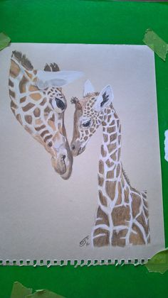 mum and baby in colour pencil