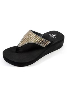 3987a64f5 Wedge flip flop featuring high EVA for ultra cushion. Also features  dazzling bronze and rhinestone