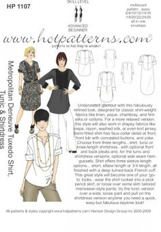 HP 1107 Metropolitan Deneuve Tuxedo Shirt, Tunic & Shirtdress - HotPatterns.com