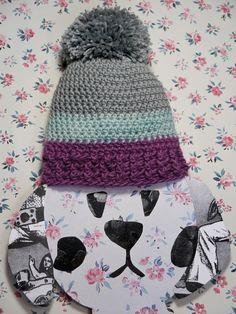 crochet striped  baby beanie pom pom light grey aqua by ohbAby1112 #pompomhat #babybeanie #crochetbeanie