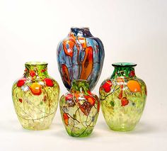 Decorated art glass vases and cremation urns by Tom Michael. www.TomMichael.com