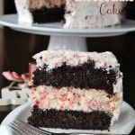 Chocolate Peppermint Cheesecake Cake- two layers of chocolate cake, a layer of #peppermint #cheesecake topped with creamy peppermint frostin...