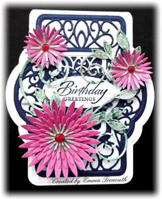 Birthday card using Sue Wilson French provence dies, Kasiercraft secret admirer, spellbinders