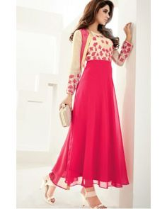 Cream & Coral Georgette Dress