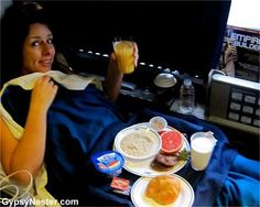 Veronica is served breakfast in bed on Amtrak!  12 things you don't know about Amtrak.