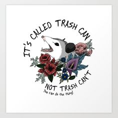 Possum with flowers - It's called trash can not trash can't Art Print by VitezPetra - X-Small Cross Stitch Embroidery, Cross Stitch Patterns, Opossum, The Funny, Make Me Smile, Just In Case, Hilarious, Art Prints, Canvas Prints