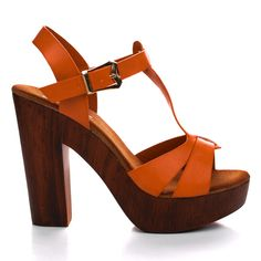 Jorge40 T-Strap Faux Wooden Platform Chunky Heel Sandal. #women #shoes for $26.50, enter AquaPin during checkout to receive 15% off.