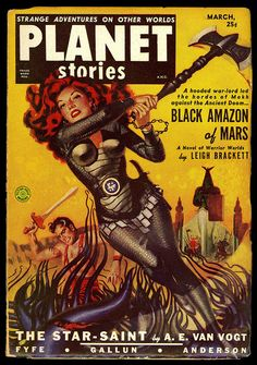 Planet Stories March  Cover Art By Allen Anderson Depicts Black Amazon Of Mars By