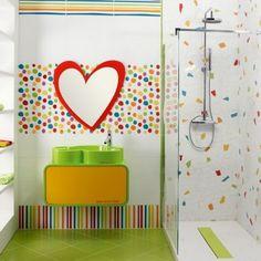deco-carrelage-colore-salle-bain | salle de bain | Pinterest ...