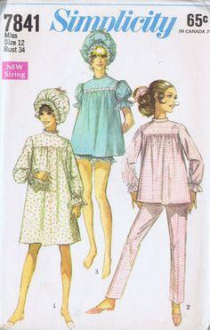 "Vintage Pajamas CAP Sewing Pattern 60s Simplicity 7841 SZ 12 Bust 34 HIP 36"" CUT | eBay"
