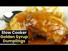 These slow cooker golden syrup dumplings are a great dessert that you can get cooking just before dinner so that they're done when you're ready for dessert. Slow Cooker Cake, Slow Cooker Recipes Dessert, Dessert Cake Recipes, Cooking Recipes, Golden Syrup Dumplings, Sweet Dumplings, Healthy Mummy Recipes, Sweet Recipes, Snack Recipes