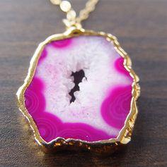 Fuschia druzy necklace