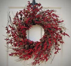 Christmas Wreath - Valentine Wreath - Home Decor - Red Berry Wreath - Winter Wreath - Holiday Decor - Storm Door Wreath - Cabin Decor by Designawreath on Etsy