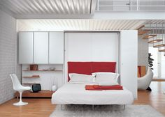 Here's another cool hideaway wall bed that give your bedroom or livingroom a modern look. This looks much better than the Murphy bed. The LGM 02 double swivel Small Space Bedroom, Small Bedroom Designs, Small Room Design, Small Rooms, Bed Design, Small Spaces, Cama Murphy, Modern Murphy Beds, Folding Walls