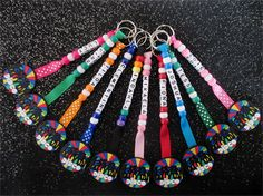 Personalised Disco key rings/ bag tag for school/ team/ party favors