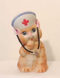 "Vintage Porcelain Cat PIggy Bank Nurse Hat Stethoscope Jasco 1980's 5 1/4"" Tall"