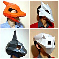 Pokemon Mask Set Paper Polygon Animal Low Poly Group Halloween