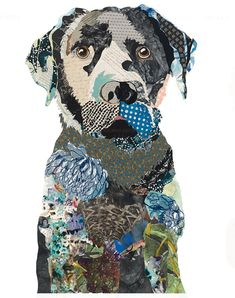 The Art Of Collage Brenda Bogart - die kunst der collage brenda bogart - - mosaic Cross; How mosaic Paper Collage Art, Collage Art Mixed Media, Collage Artwork, Paper Art, Painting Collage, Abstract Paintings, Dog Quilts, Animal Quilts, Dog Artwork