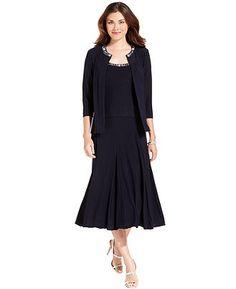 Alex Evenings Dress and Jacket, Sleeveless Beaded - Womens Dresses - Macy's