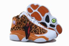 Air Jordan 13 Kids Cheetah Leopard Print Orange White Jordans Shoes 2013