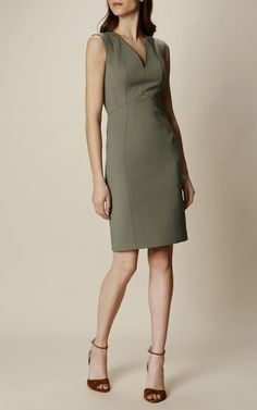 Karen Millen, CUT OUT PENCIL DRESS Khaki