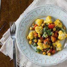 Roasted Cauliflower, Tomatoes, Chickpeas w/ Indian Spices