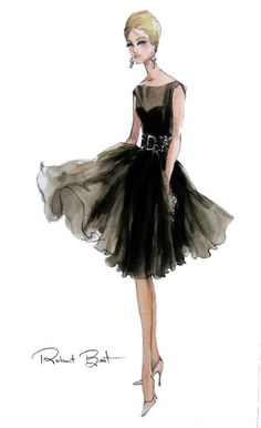 Robert Best Black dress with sheer enveloping her and reaching out for the light to her darkness